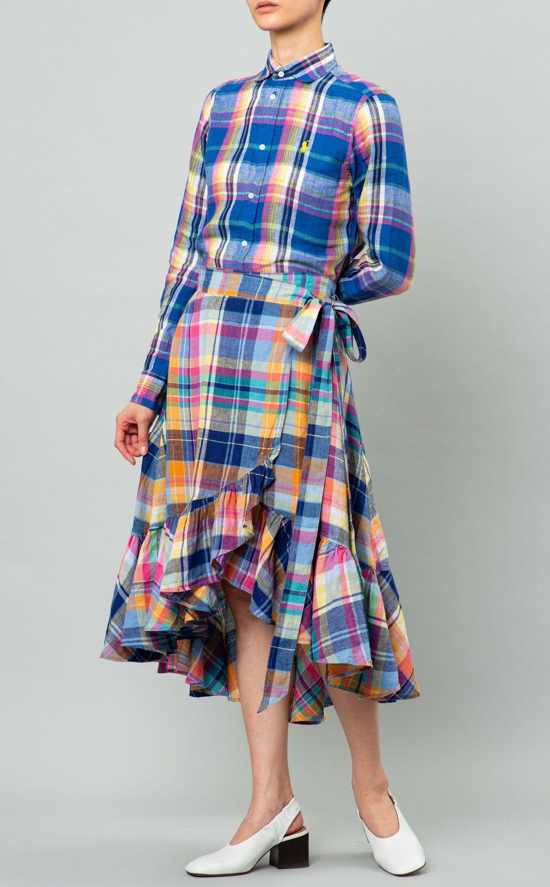 マドラスチェックギャザーラップスカート