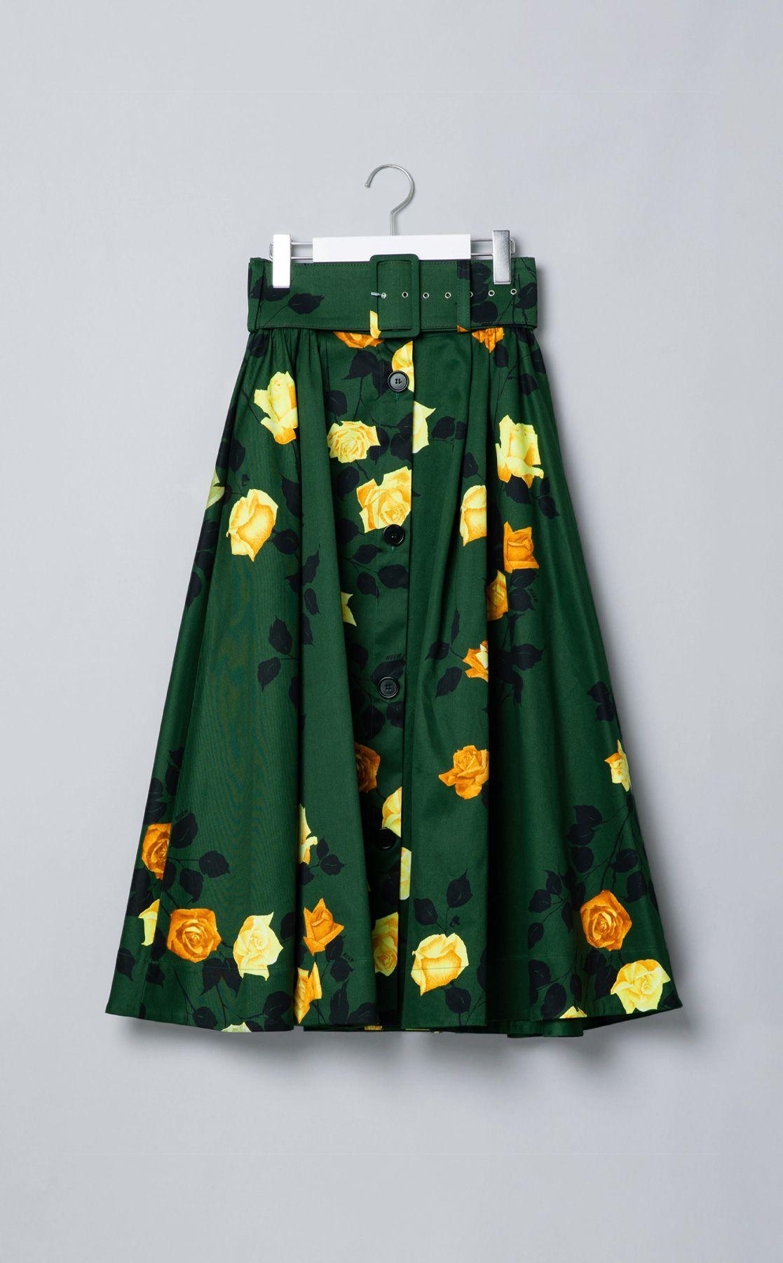 ベルト付フラワープリントスカート